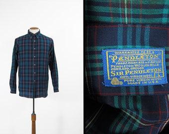Vintage Sir Pendleton Shirt Button Down Collar Blue Turquoise Tartan Wool Made in USA - Large