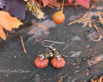 Unakite Pumpkin Earrings, Pumpkin Jewelry, Fall Jewelry, Fall Earrings, Thanksgiving Jewelry, Thanksgiving Earrings, Halloween Earrings