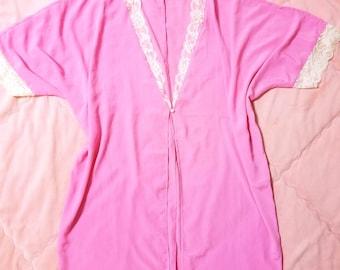 Vintage Pink Satin Robe, Vintage Lingerie Robe, Pink Lingerie Robe, Vintage Pink Robe, Vintage Robe