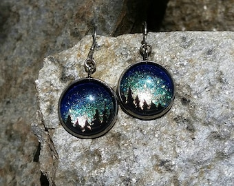 Sparkling sunrise over forest earrings