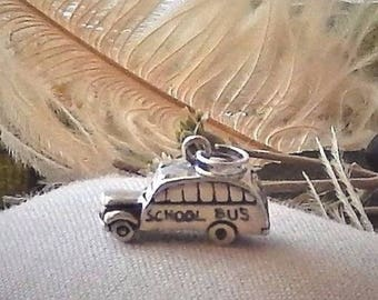 Vintage .925 Sterling Silver 3D Bus Charm