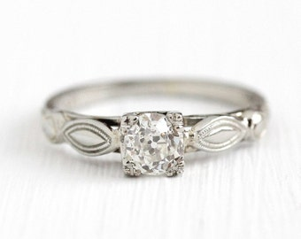 Sale - Vintage Diamond Ring - 18k White Gold 1/2 CT Old European Ring - Size 5 1/2 Solitaire Engagement Filigree Fine Jewelry w/ Appraisal