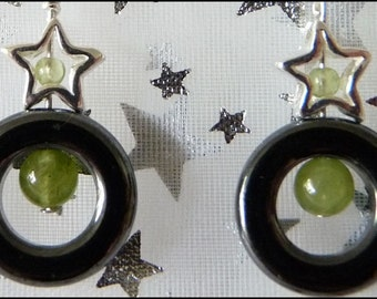 Starry Sterling Silver, Hematite and Peridot Earrings