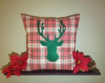Deer Slipcover, Christmas Slipcover, Holiday Slipcover, Plaid Print, Decorative Pillow, Decorative Slipcover