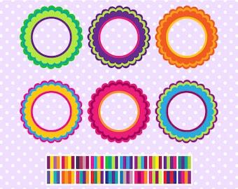 Multi-Colored Flower Digital Frames - Clipart Frames - Digital Borders - Instant Download - Commercial Use