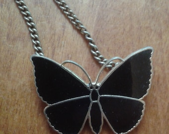 1980s Emmons Black Butterfly Necklace