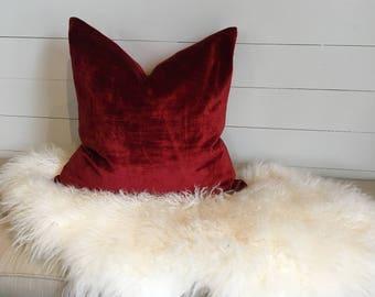 Red Velvet Decorative Pillow Cover