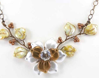 Brown Green Flower Necklace, Green White Brown Beaded Necklace, Green Brown Bib Necklace, Leaf Necklace, Bridal Jewelry, Nature Jewelry