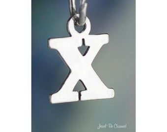 Sterling Silver Small Letter X Charm Initial Capital Letters Solid 925