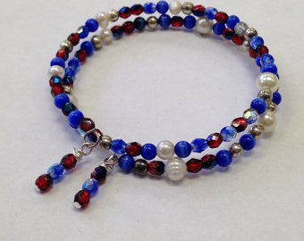 Memory Wire Bracelet Designed with Red and Blue Fire Polished Crystals, FW Pearls, Silver Beads with Wire Wrapped Dangles