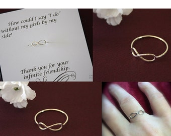 9 Infinity Ring Bridesmaid Gift, Infinity Ring, Infinity Ring Set, Sterling Silver, Thank you Card, Bridesmaid, Bridesmaid Jewelry, Ring