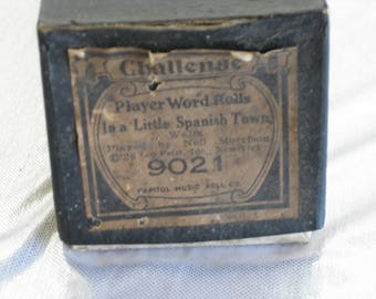 """Vintage player piano music roll by Challenge Music, """"In a Little Spanish Town"""", 1926"""