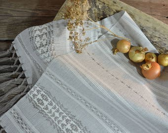 handmade decorative linen rushnik. Gray Handwoven Kitchen Towel. dish towel. Hand-Woven Cotton Dish Cloth. Bath Beach. Kitchen decor  04