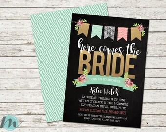 Here Comes The Bride Chalkboard Floral Shower Invitation, 5 x 7, Digital Printable, Digital Download,