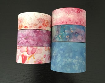 "24"" SAMPLES of limited edition Taiwanese/Japanese artist flowers washi tape (M49)"