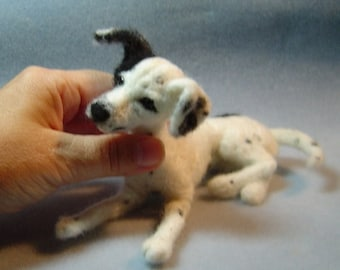 Custom Dog Portrait needle felted sculpture pet made to order