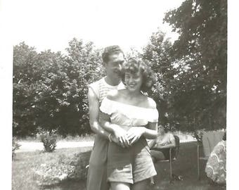 "Vintage Photo ""He Makes Her Laugh"" Man Whispers In Pretty Girl's Ear Love Romance Old Snapshot Found Vernacular Photo"
