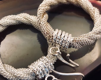 Silver twisted mesh Hoop Earrings by UnoAErre