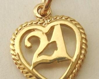 Genuine SOLID 9ct YELLOW GOLD 21 th birthday charm pendant