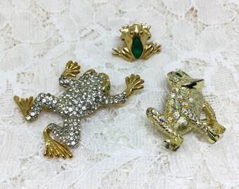 Vintage Three Frog Brooches Pins