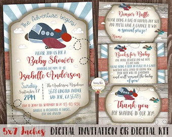 Airplane Baby Shower Invitation Printable Kit - Sunburst It's a Boy - The Adventure Begins - Rustic Wood - Aviation Baby Shower 5x7 inches