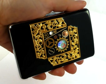 Gears Cogs and Sprockets Metal Accordion Wallet Inlaid in Hand Painted Enamel RFID Credit Card Case with Personalized and Color Options