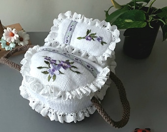 Small Minature Moses Basket with Hand Knitted Mattress, Cover & Pillow.
