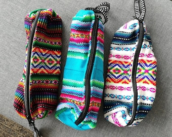 Ethnic Pencil Pouch, Handmade Zipper Pouch, Peruvian Fabric,