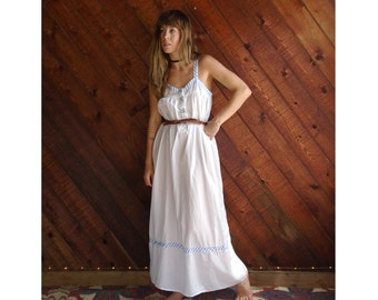 Clean White Cotton Sleeveless Maxi Dress - Vintage 90s - SMALL