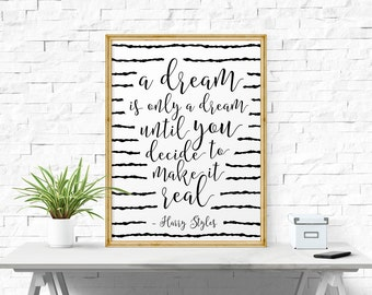 Motivational Print, A Dream Is Only A Dream Until.. Office Wall Art, Love Print, Quote Print, Printable Poster