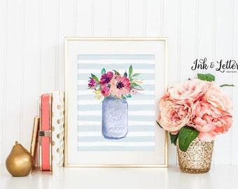 Watercolor Flower Print - Spring Wall Decor - Mason Jar Decor - Floral Decor - Spring Wall Art - Instant Download - Digital Printable - 8x10