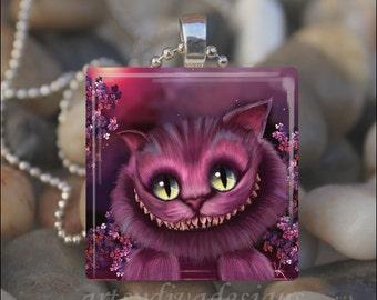 PURPLE CHESHIRE CAT Wonderland Kitty Smile Glass Tile Pendant Necklace Keyring