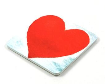 Fridge Magnet, Heart Fridge Magnet, Photo Magnet, Plastic, Square, Handmade
