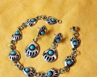 Bear Paw Shadow Box Sterling & Turquoise Bracelet and Earrings