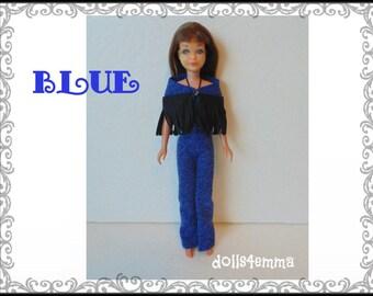 Vintage SL SKIPPER Doll Clothes - Retro Poncho and blue Jumpsuit - Custom Fashion - by dolls4emma