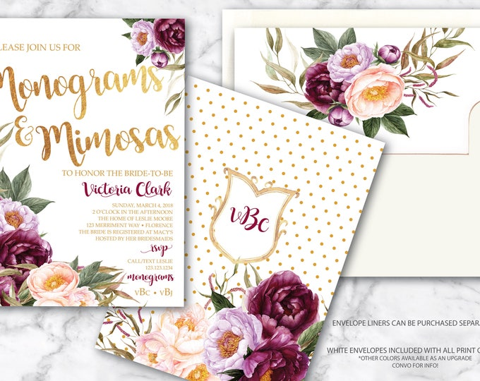 Burgundy Monograms and Mimosas Invitation / Bridal Shower Invitation / Floral / Watercolor / Purple / Pink / Gold / FLORENCE COLLECTION