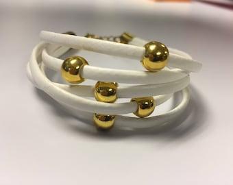 White Leather X Gold Bracelet