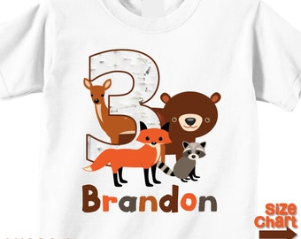 Personalized Woodland Animals Bear Fox Deer Raccoon Birthday T-shirt Bodysuit Boy Girl Kids 1st 2nd 3rd 4th 5th 6th Birthday Party Shirt
