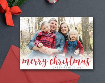 Photo Christmas Card, Merry Christmas, Printable OR Printed, Religious, Bible Verse, Scripture, Modern Photo Card, 3 Photos, 2-Sided, 5x7