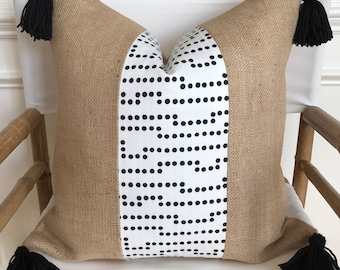 Black and White Dot Fabric Tassel and Burlap Pillow Cover