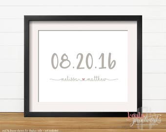 Personalized Wedding Date Gift   Wedding Date Art Print   Engagement Gift    Anniversary Gift   Wife Christmas   Shower Gift   Bride & Groom