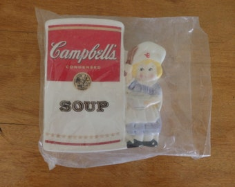 Vintage Campbell's Soup Spoon Rest, Little girl holding bowl Campbell's Soup from 1997.