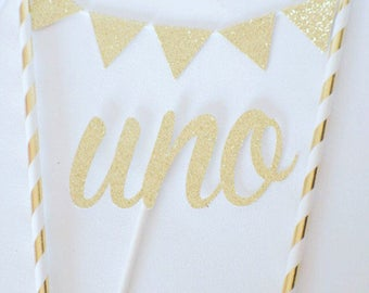 One Cake Topper, UNO cake Topper, First birthday cake topper, ONE Smash Cake Set (Cake Topper and banner)
