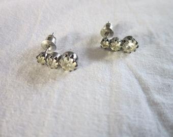 Vintage Petite very cute 3 graduated Rhinestones Pierced Earrings
