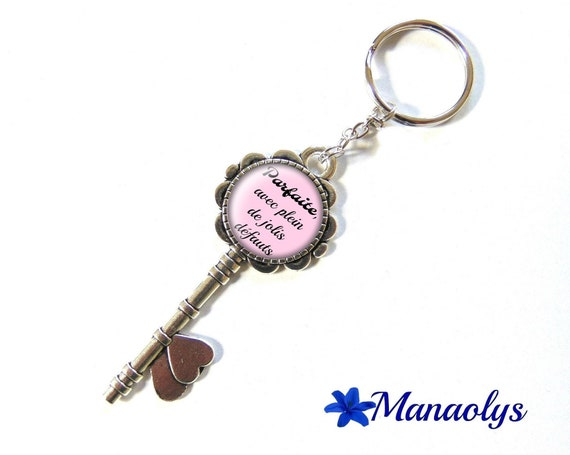 "Door keys or bag charm, message, quote, ""Perfect, with lots of pretty defects"" 133 glass cabochons"