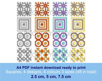 Geometric shadow effect collage squares digital PDF sheet, 4 designs in four colours and three sizes paper crafts cards scrapbooking SS-GS-1