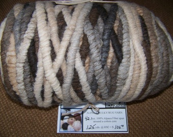 125 Yards - All Natural - No Dyes - 100% Alpaca Bulky Rug Yarn - Mix of Brown/Beige/Fawn and Black