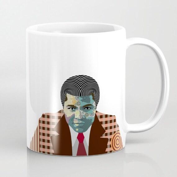 Muhammad Ali Art, Muhammad Ali Cute Mug, Boxing Legend Art Mug, African American Gift, Cassius Clay Mug