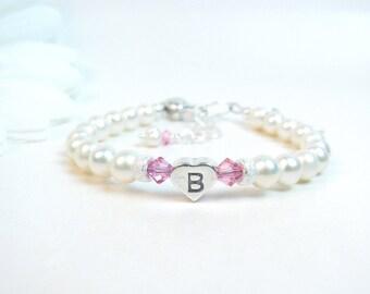 Personalized Bracelet for Newborn Infant Baby Little Girl - Pearl Baby Bracelet - Birthstone Bracelet - Girl Baptism or Christening Gift
