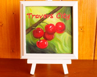 "Traverse city cherries painting 4""x4"" by jojofineart.com"